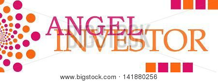 Angel investor text alphabets written over pink orange background.