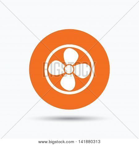 Ventilation icon. Air ventilator or fan symbol. Orange circle button with flat web icon. Vector