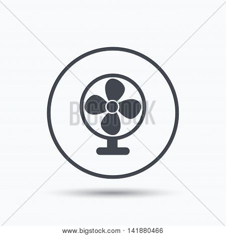 Ventilator icon. Air ventilation or fan symbol. Circle button with flat web icon on white background. Vector