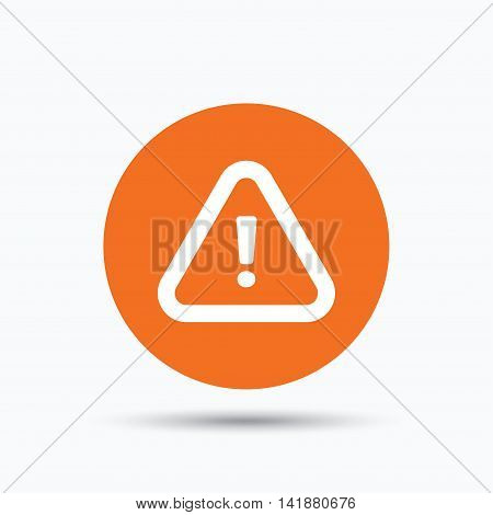 Warning icon. Attention exclamation mark symbol. Orange circle button with flat web icon. Vector