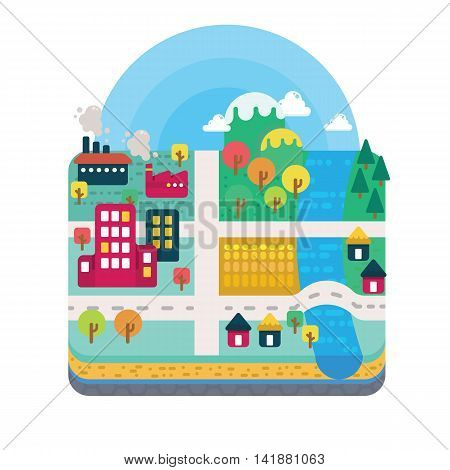 Vector Illustration of City and Nature Landscape Map Layer Scenery in Flat Design