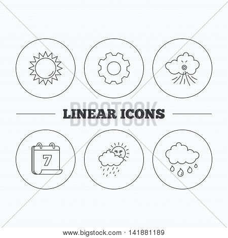 Weather, sun and wind icons. Rainy day linear sign. Flat cogwheel and calendar symbols. Linear icons in circle buttons. Vector
