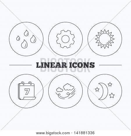 Weather, sun and wind icons. Moon night linear sign. Flat cogwheel and calendar symbols. Linear icons in circle buttons. Vector