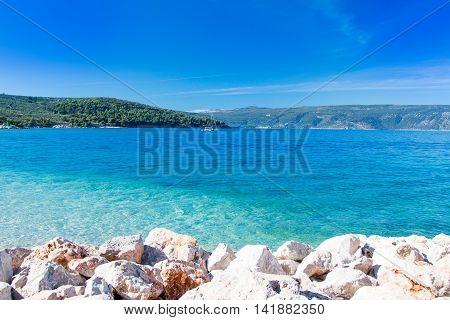 Blue lagoon on Cres Island in Croatia, seascape, sunny summer day