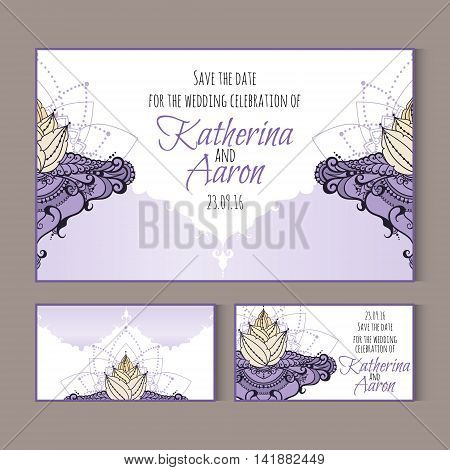 Set of invitation wedding cards with place for text. Vector illustration with lotus flower. Can be used for backgrounds business style tattoo templates cards design or else.