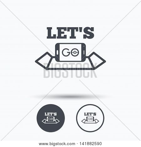 Smartphone icon. Let's Go symbol on map. Pokemon game concept. Circle buttons with flat web icon on white background. Vector