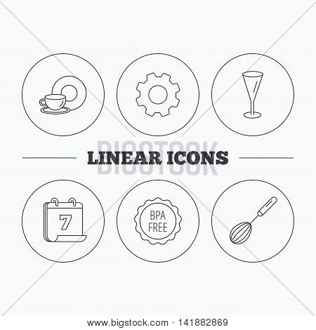 Food and drink, glass and whisk icons. BPA free linear sign. Flat cogwheel and calendar symbols. Linear icons in circle buttons. Vector