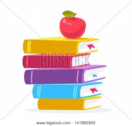 Vector colorful illustration of close up stack of books with red apple isolated on white background. Bright school design for web site advertising banner poster brochure board