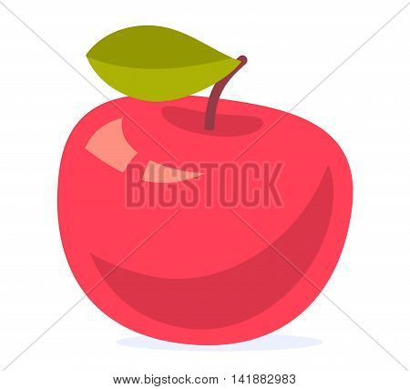 Vector colorful illustration of big red apple with green leaf isolated on white background. Bright harvest design for web site advertising banner poster brochure board