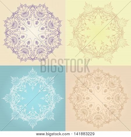 Four floral round backgrounds. Circular ornaments with lotus flowers. Can be used for backgrounds business style tattoo templates cards design or else. Vector illustration.