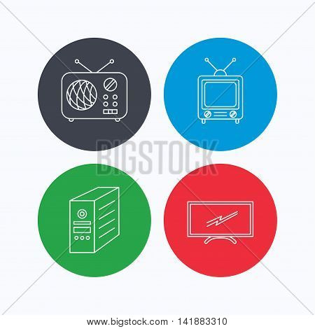Retro TV, radio and PC case icons. Computer linear sign. Linear icons on colored buttons. Flat web symbols. Vector