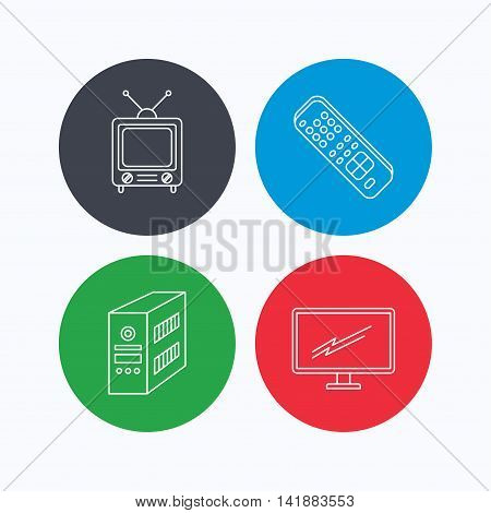 Retro TV, PC case and monitor icons. TV remote linear sign. Linear icons on colored buttons. Flat web symbols. Vector
