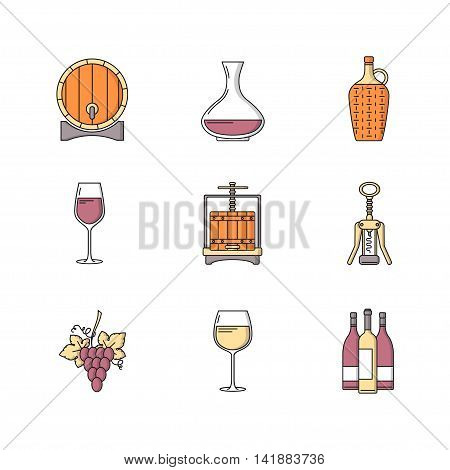 Winemaking icons set on white background. Collection of modern flat style design element. Vector illustration can be used for web page banner info graphics