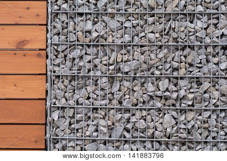 Close up of a stone-wood fence - Copy Space