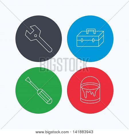 Wrench key, screwdriver and paint bucket icons. Toolbox linear sign. Linear icons on colored buttons. Flat web symbols. Vector