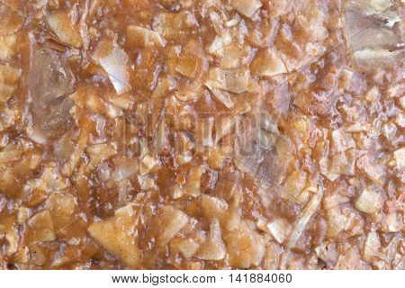 Close view of a piece of ginger brittle candy.