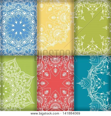 Six lacy patterns on the basis of a circular pattern with lotuses. Can be used for backgrounds business style tattoo templates cards design or else. Vector illustration.