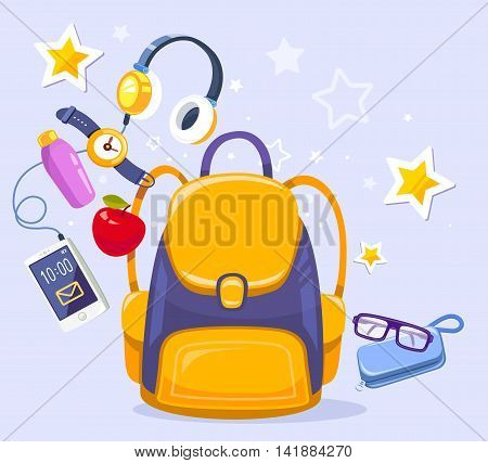 Vector colorful illustration of yellow backpack phone with headphones watch apple case on blue background. Bright design for web site advertising banner poster brochure board