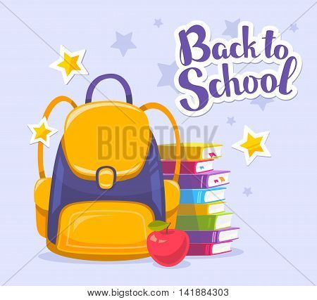 Vector colorful illustration of yellow backpack pile of books apple and text back to school on blue background with stars. Bright design for web site advertising banner poster brochure board