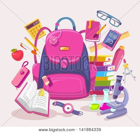 Vector colorful illustration of big girl pink backpack pile of books phone microscope apple pen and other many school supplies on light background. Art design for web site advertising banner poster brochure board