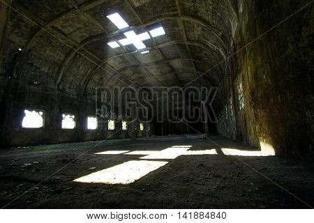 Inside of the Chicken's Church. The Ray of Light appear from the ceiling that shaping a cross.