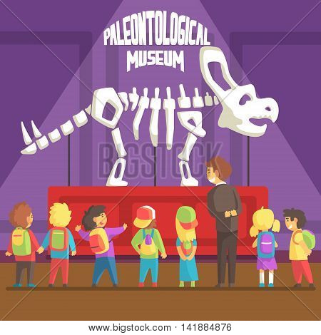 Groop Of School Kids In Paleontology Museum Next To Triceratops Skeleton. Bright Color Vector Illustration In Funky Geometric Style.