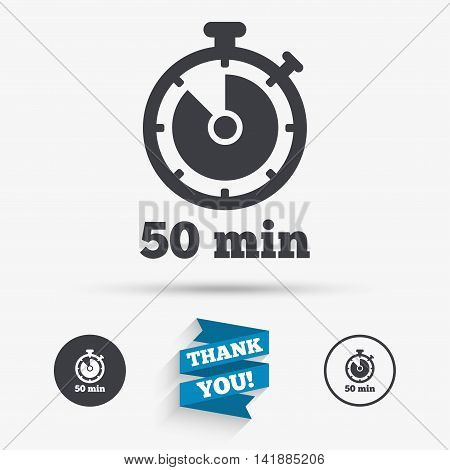 Timer sign icon. 50 minutes stopwatch symbol. Flat icons. Buttons with icons. Thank you ribbon. Vector