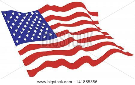 American flag vector color wind patriotism west state national