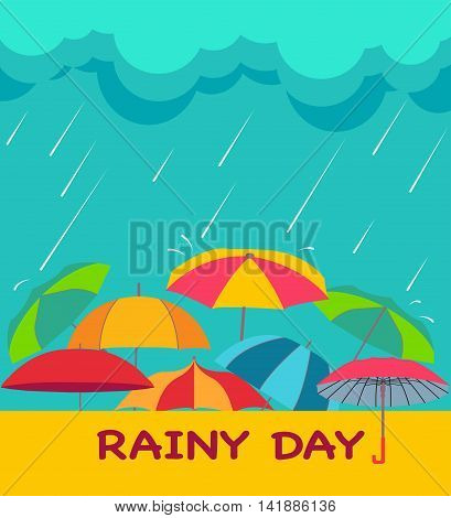 Rainy season background with clouds raindrops and umbrellas creative vector abstract for Rainy Day theme.