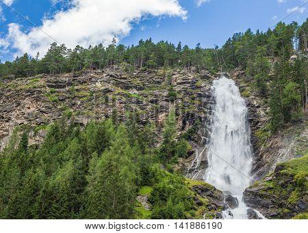 Stuibenfall Waterfall In Otztal, Austria