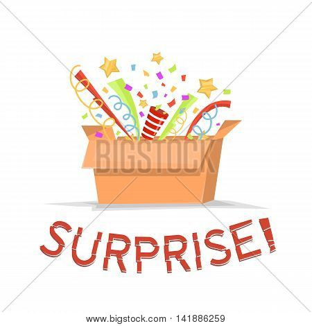 Gift cardboard box with surprise text. Open gift box with confetti stars. Magic box isolated. Vector illustration