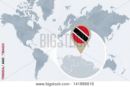 Abstract Blue World Map With Magnified Trinidad And Tobago.