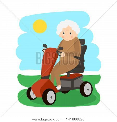 Senior Lady on a Mobility Scooter. Elderly people moving on scooter. Elderly transport