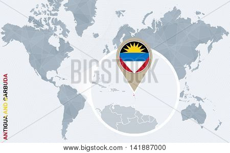 Abstract Blue World Map With Magnified Antigua And Barbuda.