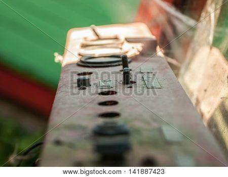 Control Elements On Rusty Metal Dashboard
