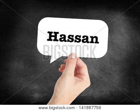 Hassan written in a speechbubble