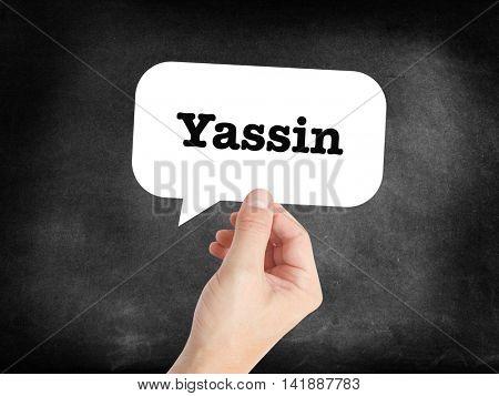 Yassin written in a speechbubble