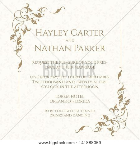 Invitation card with floral frame on seamless background. Classic design page. Wedding invitation Save The Date valentines day birthday cards. Vector template cards.