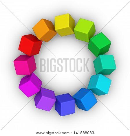 color wheel of multicolor cubes 3D illustration