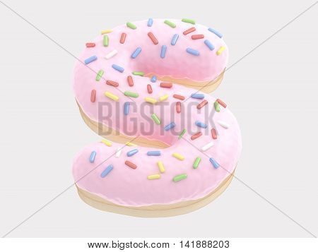 The font in the form of a donut with pink cream and multi-colored candy. 3d rendering