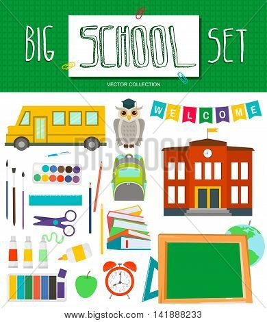 Big school set with school elements school bus school building chalkboard owl school bag school supplies alarm clock globe art materials.Start education elements collection.