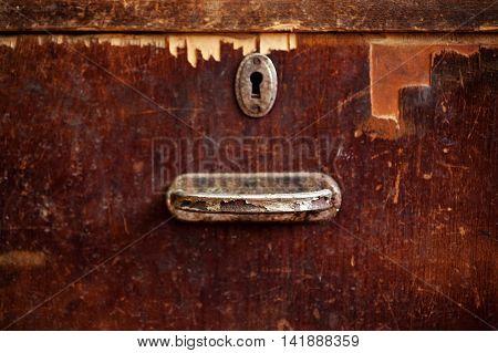 Rusty Keyhole And Handle Closeup Shot