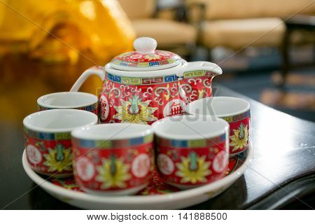 Chinese Tea Bowl in the Chinese Wedding (Blurred)