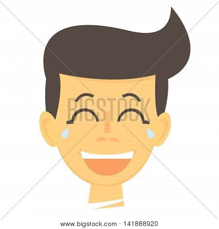 Laughing cartoon boy. Happy boy face icon. Laughing boy isolated. Vector Illustration