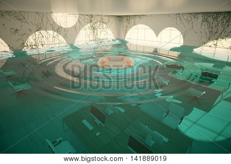Lifebuoy in abstract flooded office interior. 3D Rendering
