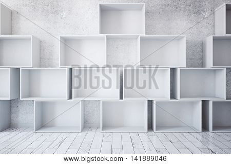 Stacks of empty boxes in room with concrete wall and light wooden floor. Mock up 3D Rendering