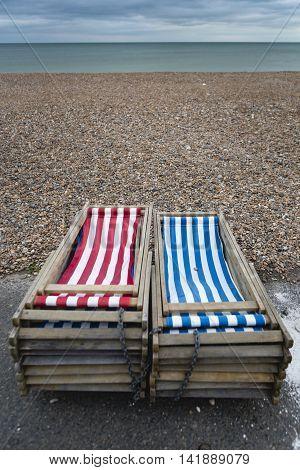 Postcards From The Sea, Colorful Deck Chairs On The Pebble Beach