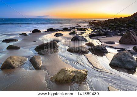 Sunset over atlantic ocean at Gran Canaria island, Spain