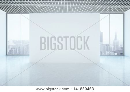 Bright unfurnished interior with blank wall and city view. Mock up 3D Rendering