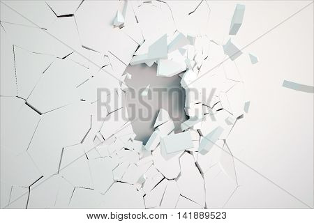 Broken white wall surface revealing grey concrete underneath. 3D Rendering